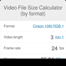 Computer File Size Conversion Chart Video File Size Calculator By Format Omni