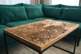 resin and wood city map coffee tables