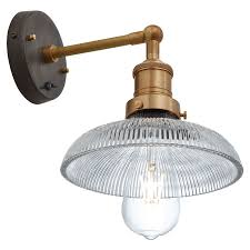 industville brooklyn ribbed glass dome wall light antique brass lighting direct