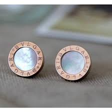 bvlgari stud earrings in pink gold with white monther of pearl
