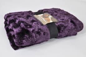 luxury faux fur throwblanket in purple  lancashire textiles