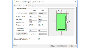 Rebar Design And Detailing Data Chart Rc Column Designer Software Cads Uk