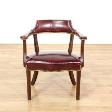 Burgundy Accent Chair This Captains Chair Is Upholstered In A Durable Faux Leather