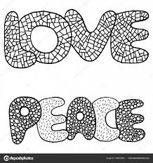 Kleurplaat Met Woord Van Liefde En Vrede Stockvector Fesleen