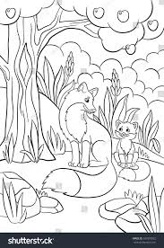 Small Picture Coloring Pages Wild Animals Mother Fox Stock Vector 437879872