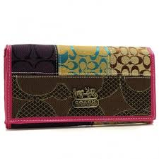 Coach Holiday Fashion Signature Large Pink Wallets BSD