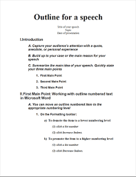 Microsoft Word Outline Template Speech Outline