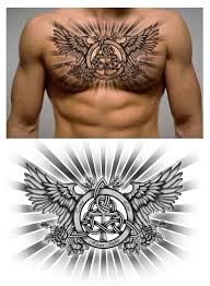 Family Trinity Knot With Names And Ankh Symbol In It Chest Piece