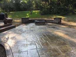 Concrete patio with square fire pit Retaining Wall Stone Stamped Concrete Patio Seamless Slate Pattern Concrete Sealing Loveland Ohio Stamped Concrete Cincinnati Ohio Walkers Concrete Walkers Concrete Llc Stamped Concrete Patternsstamped Concrete