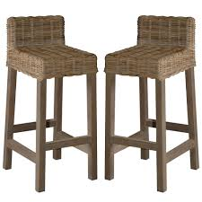 Rattan Kitchen Furniture Decor Low Back Rattan Bar Stools For Kitchen Counter Seating Ideas