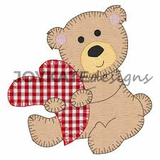 Teddy Bear Applique Designs Valentine Teddy Bear With Heart Vintage Applique Embroidery Design