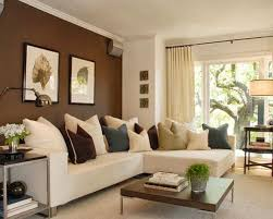 Creative Accent Wall Colors Ideas for Dining Room: Comfortable Brown Themed  Modern Family Room Idea Furnished With White Sectional Sofa Coup.