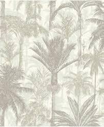 Bolcom Botanical Palmbomen Grijswit Behang Vliesbehang Grijs