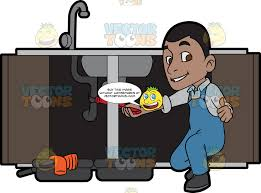 A Satisfied Plumber Fixing A Kitchen Sink Clipart Cartoons By