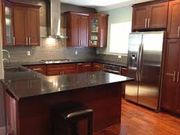 subway tile backsplash with cherry cabinets. Exellent With Grey Glass Subway Tile Backsplash With Cherry Cabinets And Black  Countertops  Google Search Intended Subway Tile Backsplash With Cherry Cabinets H