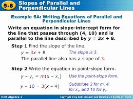example steps for finding slope intercept form inspirational chapter 5 slopes of parallel and perpendicular lines