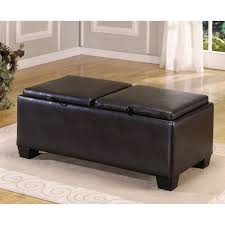 furniture block black leather ottoman coffee table with double storage plus short black wooden legs