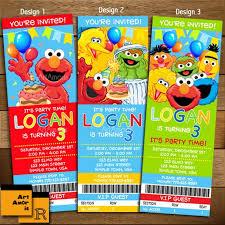 Party Ticket Invitations Extraordinary Ticket Elmo Birthday Invitations Elmo Invitation Sesame Etsy