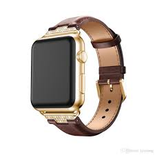 2018 luxury genuine leather watchband for apple watch leather band gold 38mm 42mm series1 2 3 strap for iwatch band belt leather silicone watch bands