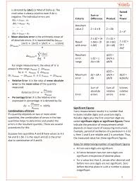Measurement Units Chart Pdf Class 11 Physics Revision Notes For Chapter 2 Units And