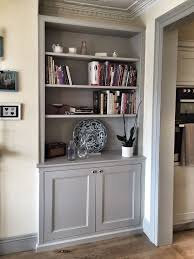 shelving furniture living room. bespoke fitted alcove unit traditional dresser style with book shelves and panelled door cupboards for a living room or dining shelving furniture