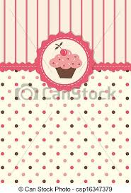 Cute Background With Cupcake Cute Vector Background With Polka Dots