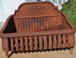 image of antique cast iron fireplace grate