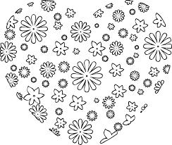 ポップでかわいい花のイラストフリー素材no1161白黒ハート型