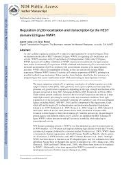 PDF) Regulation of p53 localization and transcription by the HECT domain E3  ligase WWP1