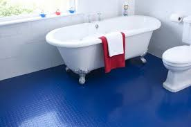 view in gallery bathroom with blue rubber flooring