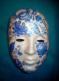Decorating A Mask masquerade mask decorated with blue painting and creative craft 17