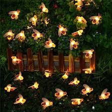 20pcs led bee shape solar string lights bright garden wedding party lamp outdoor dector
