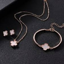 Four-leaf clover bracelet earrings necklace set fashion crystal ... - Vova