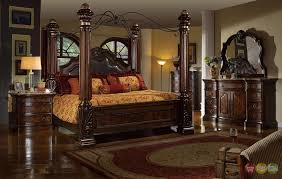 Traditional King Poster Canopy Leather Bed 5 Piece Bedroom Set ...