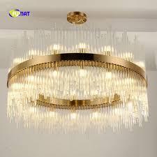 round design large modern chandelier living lighting clear glass pendant lamps ac110v 240v gold chandeliers hotel