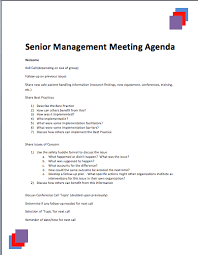 Senior Management Meeting Agenda Template Printable