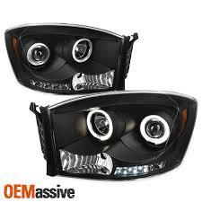 Halo Lights For 2006 Dodge Ram Fits 06 08 Dodge Ram Pickup Truck Black Bezel Dual Halo Led Projector Headlights