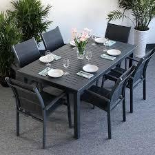 Garden Table Set VIRGINIA Grey - 6 Person Aluminium \u0026 Glass ...