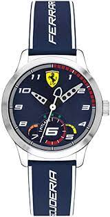 Amazon Com Ferrari Boys Stainless Steel Quartz Watch With Silicone Strap Blue 16 Model 0860005 Watches