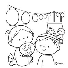 夏祭りのこどもたちのイラストぬりえ 子供と動物のイラスト屋さん