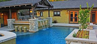pool with waterfall and outdoor kitchen