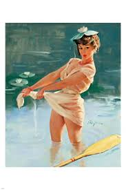 Half Naked Pin Up Girl In Pond Poster X Skimpy Adorable Embarrassed Hot