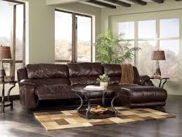 delectable design ideas of living room couch sets with dark brown leather recliners also chaise and round shape wooden glass coffee table cream colors plush