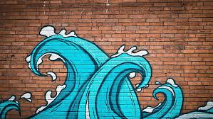 graffiti wall bricks waves paint