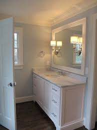 bathroom crown molding. Delighful Bathroom Gorgeous Bathroom With Blue Walls Paint Color Crown Molding Painted  Sherwin Williams Creamy Extrawide Single Vanity Marble Countertop  Throughout Bathroom Crown Molding T