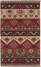 surya hand made wool tribal lodge 5x8 red area rug approx 5 x 8