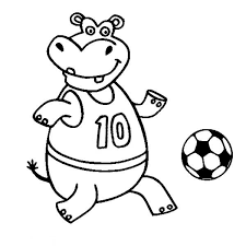 Small Picture A Happy Hippo Playing Soccer Coloring Page Download Print