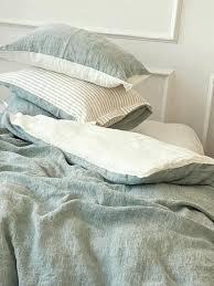 reversible linen duvet cover in bluish
