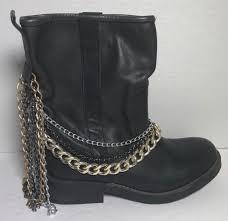 unique nordstrom rack black leather boots biker chain size 7 1 2 for