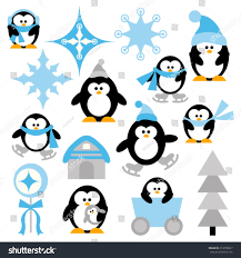 winter penguin clip art. Beautiful Clip Winter Penguins Vector Clip Art In Blue And Black Cute Illustration On Penguin Clip Art